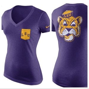 LSU Nike V Neck Women's Tee Small